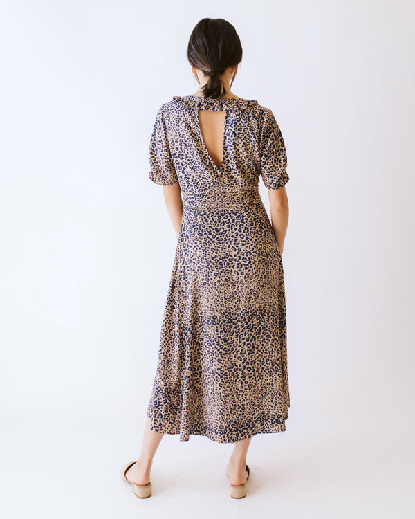 v neck ruffle wrap leopard print midi dress with waist tie
