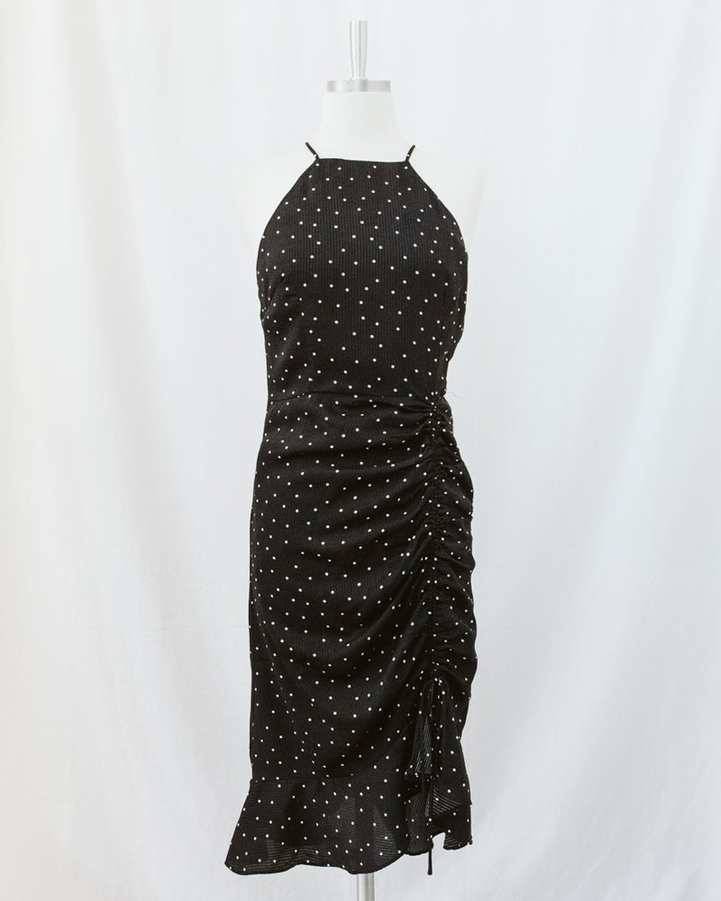 spaghetti strap halter dress with pin dot and drawstring ruching