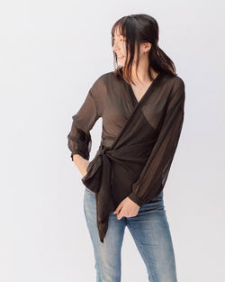 sheer pin dot black wrap long sleeve top