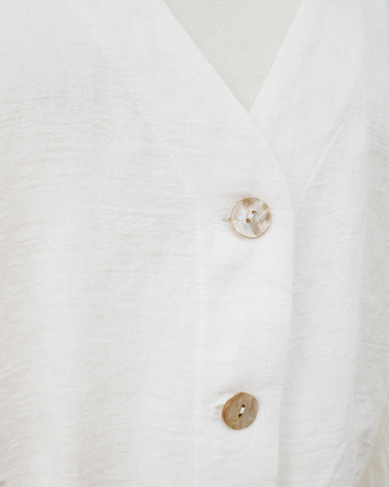 natural shell button ivory cropped cardigan with balloon sleeves