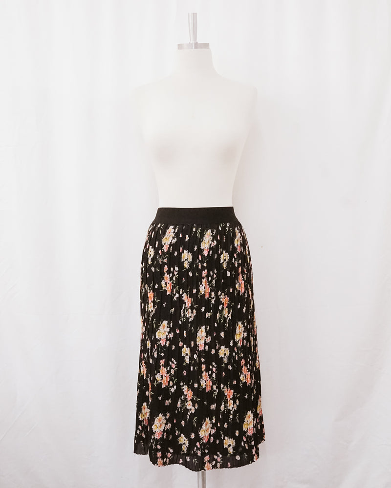 black floral micro-pleated elastic waist midi skirt