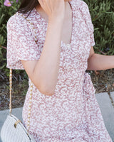 floral wrap midi dress cream red