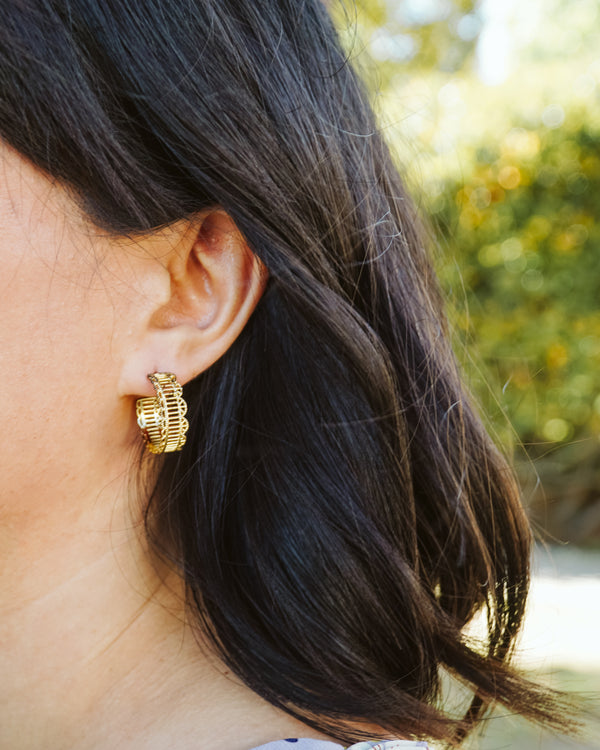 Alexa Gold Filigree Hoop Earrings