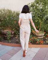 ruffle plaid jumpsuit cream rust bow self tie belt