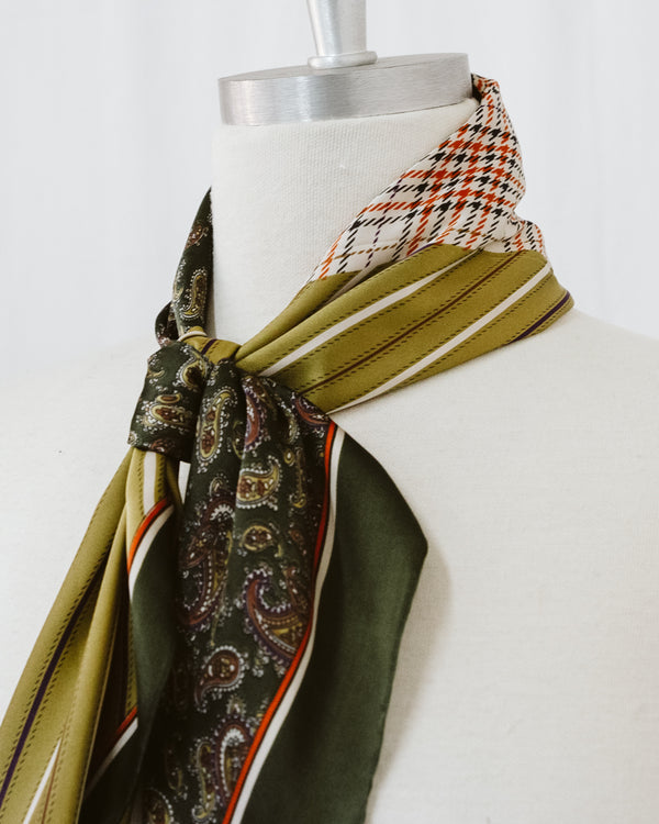 olive stripe paisley hounds-tooth and plaid satin scarf