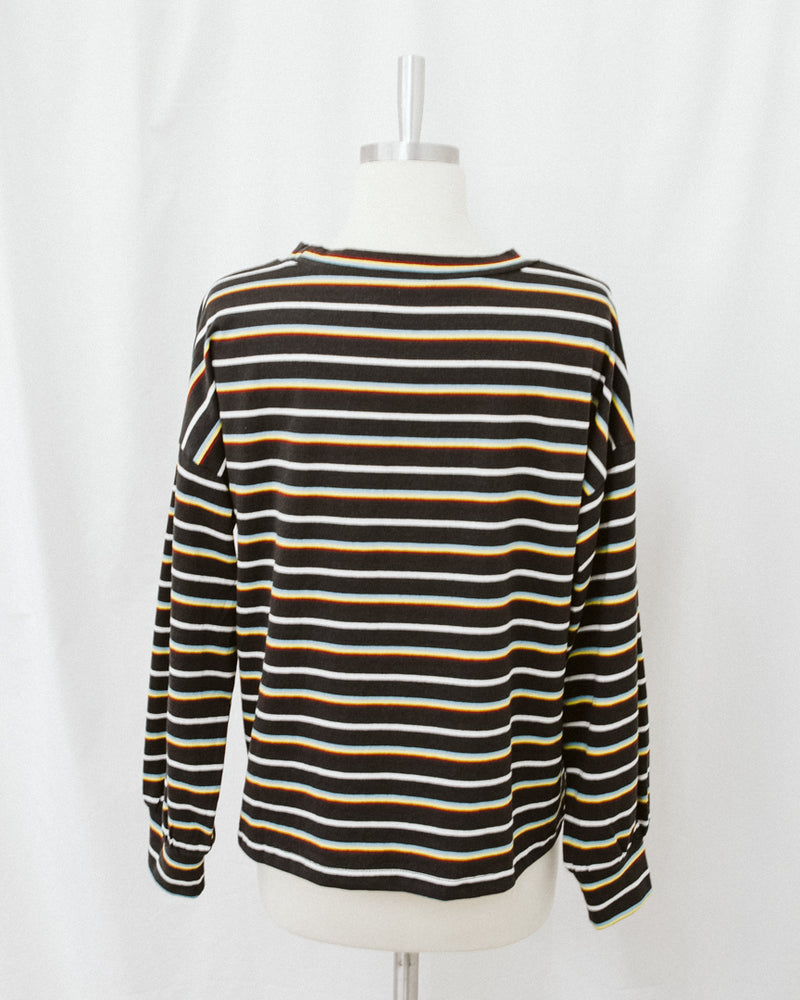 vintage wash multicolor striped cropped long sleeve top
