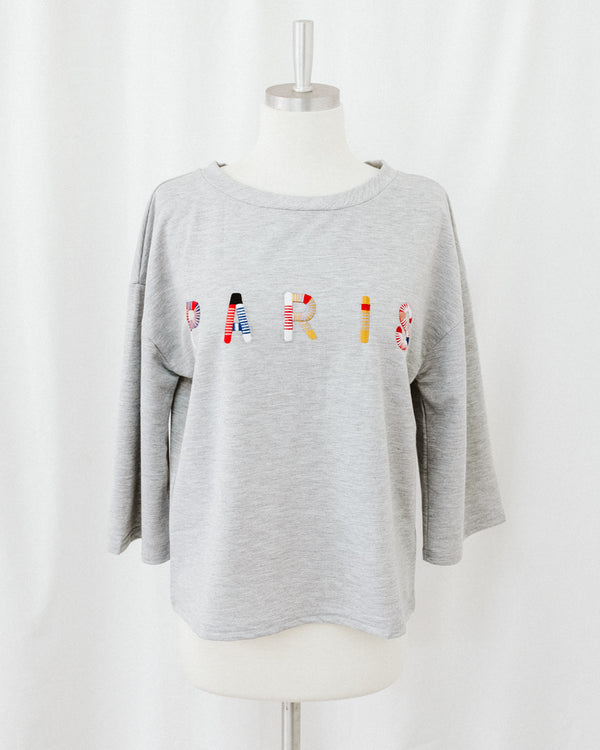 paris embroidery dolman sleeve oversize top