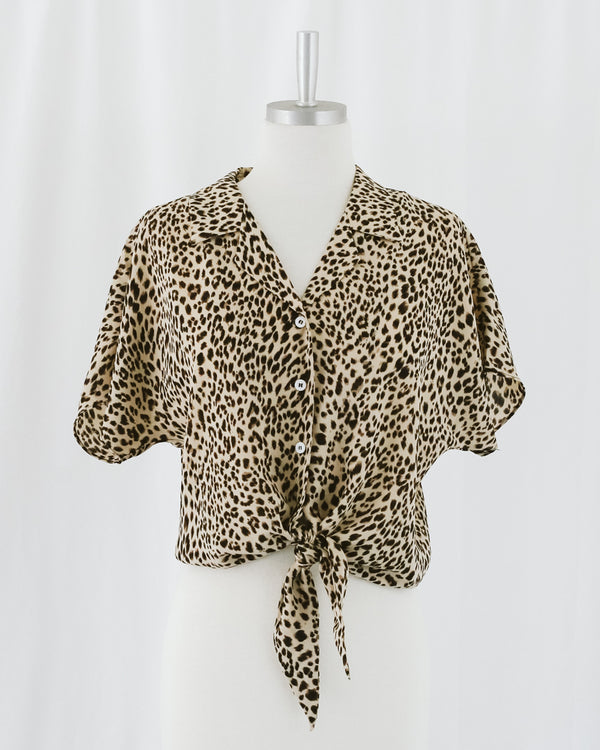 leopard print safari tie front collared blouse