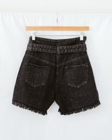 high rise black denim shorts with waist belt