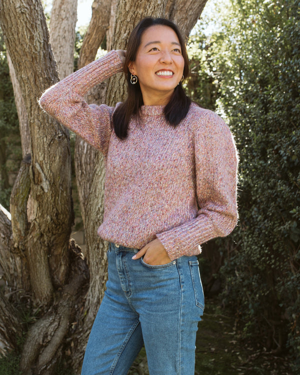 pink mauve purple speckled puff sleeve cozy pullover sweater extended cuff