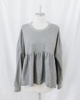 gray heathered crewneck peplum sweater