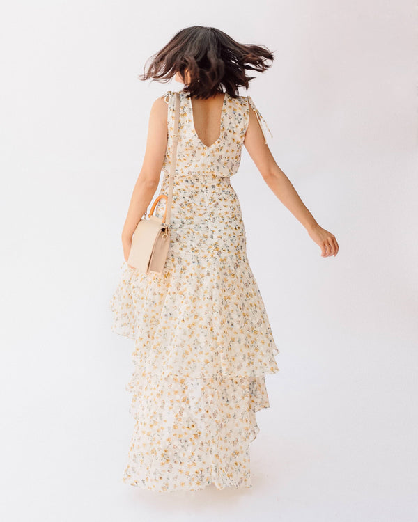 White and yellow floral v neck gathered ruffle midi dress