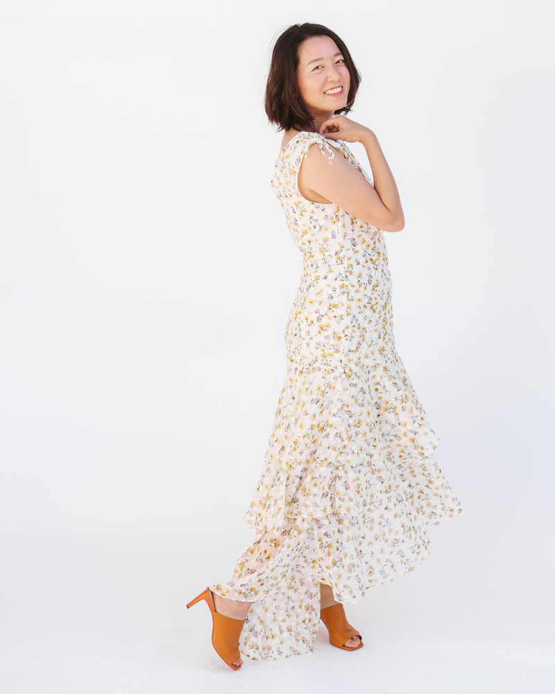 white and yellow v neck floral ruched drawstring ruffle maxi dress