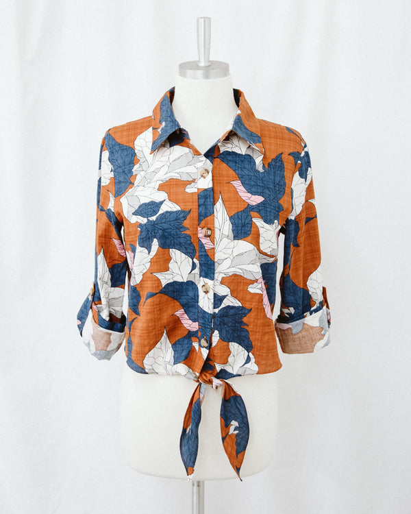 collared cropped rust floral top with waist tie