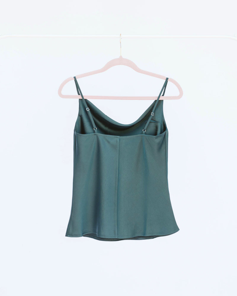emerald hunter green satin cowl neck camisole