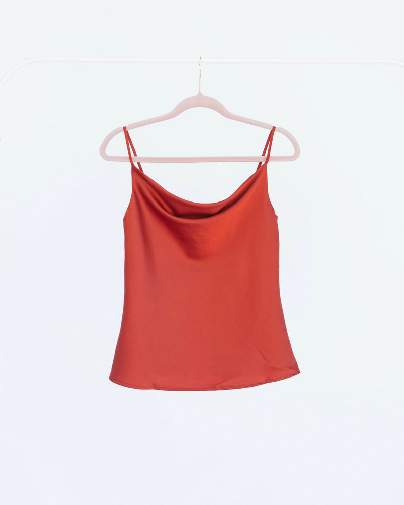 rust red satin camisole tank top