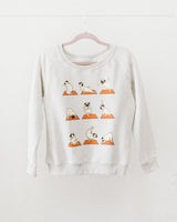 pug graphic heathered gray sweater