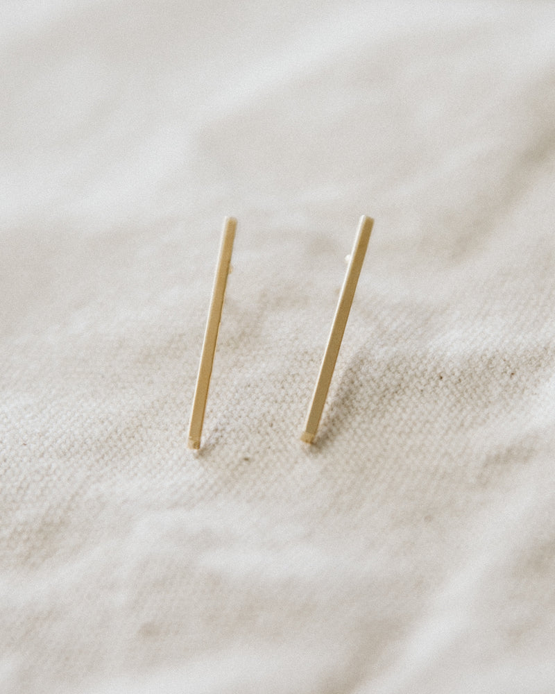 gold dainty minimal bar earrings