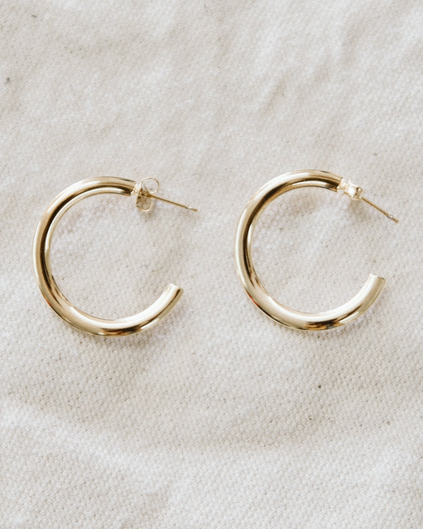 gold twisted open hoop earrings