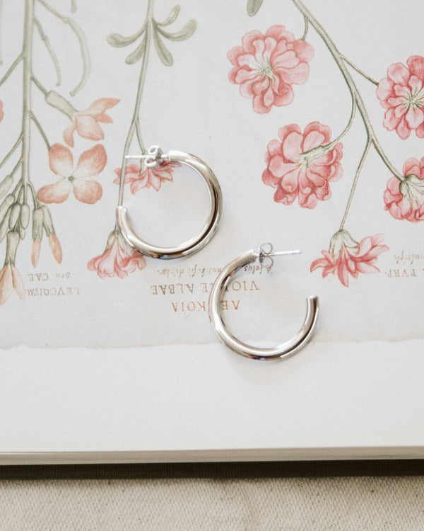 white gold silver twisted open hoop earrings