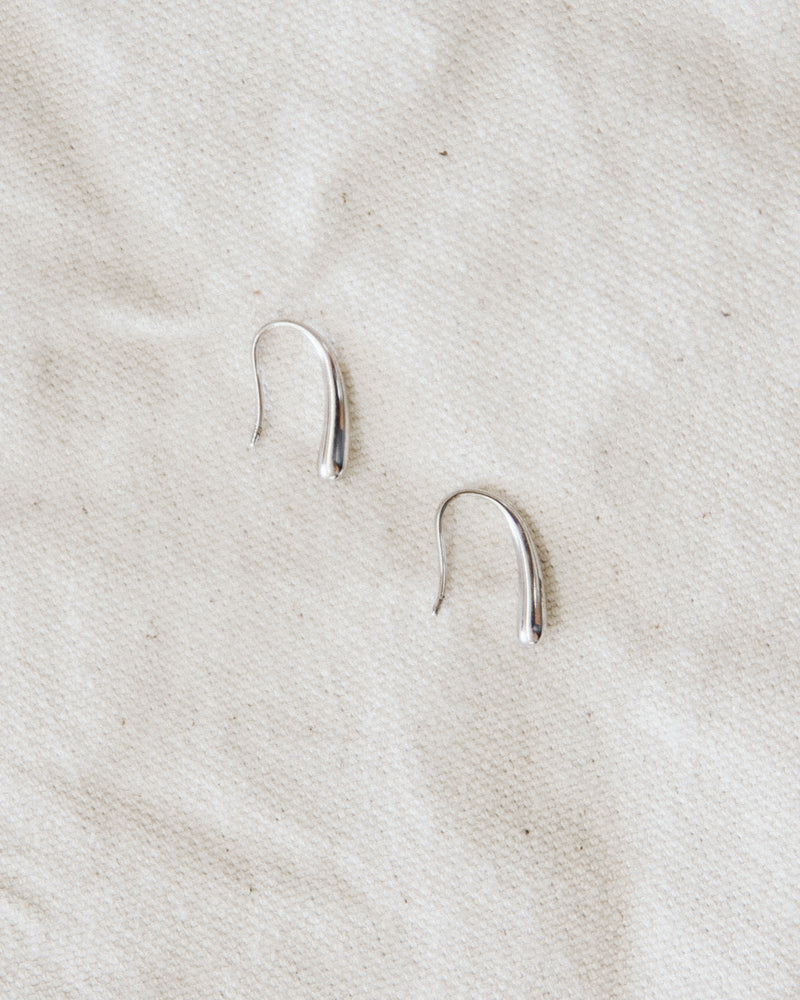 white gold dipped silver drop hook earrings