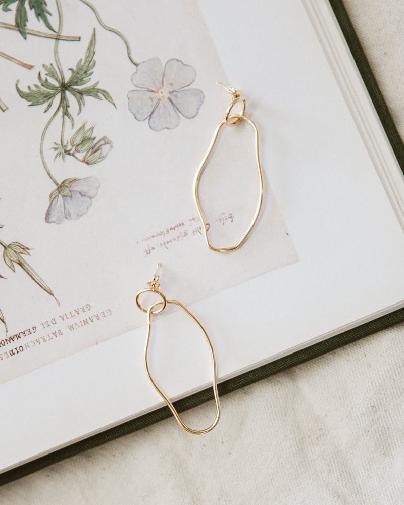abstract gold hoop contour earrings