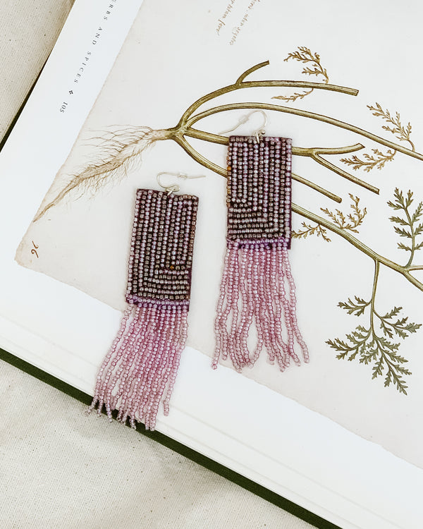 lavender purple beaded rectangle fringe earrings