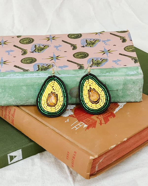avocado beaded green statement drop earrings