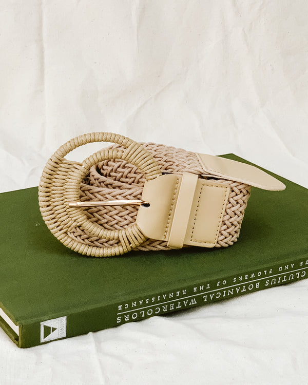 woven oversized buckle wrapped belt