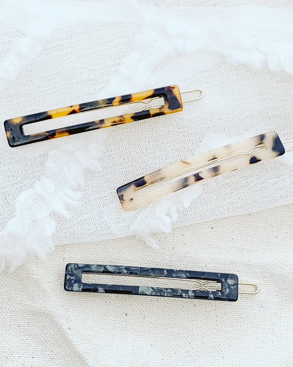 assorted 3 pack tortoiseshell rectangle hair clips