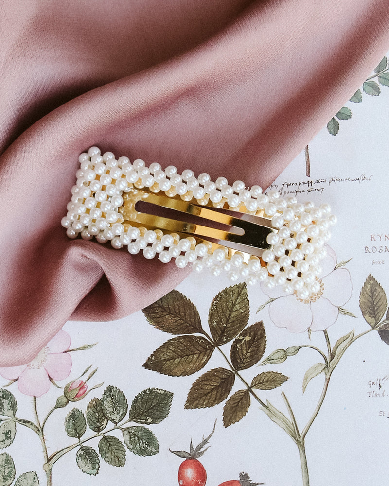 oversized rectangle pearl gold barrette
