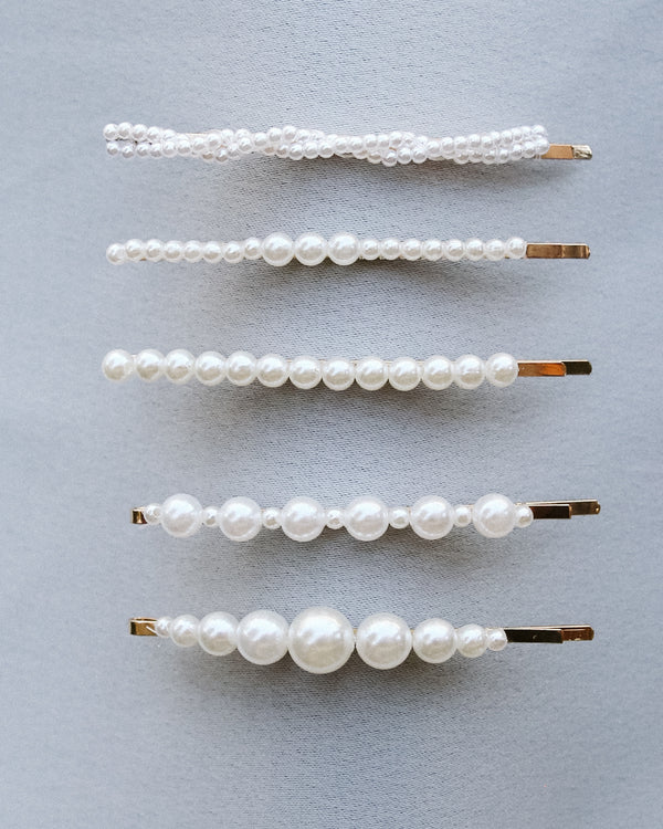 pearl barrette hair pin set assorted size