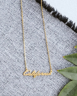 california gold dainty script necklace