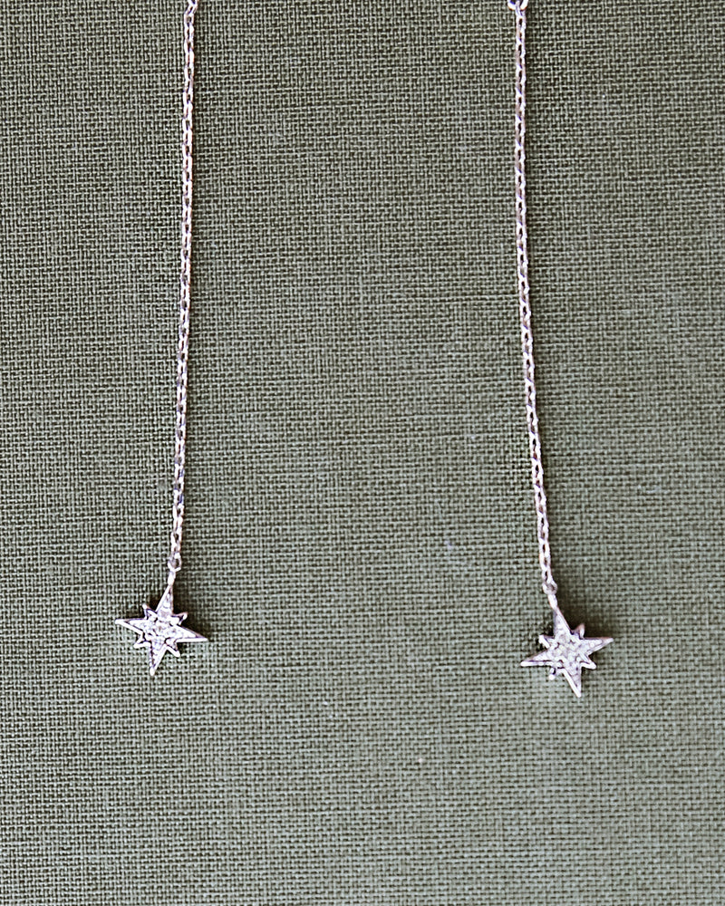star white gold silver tone drop dangle earrings