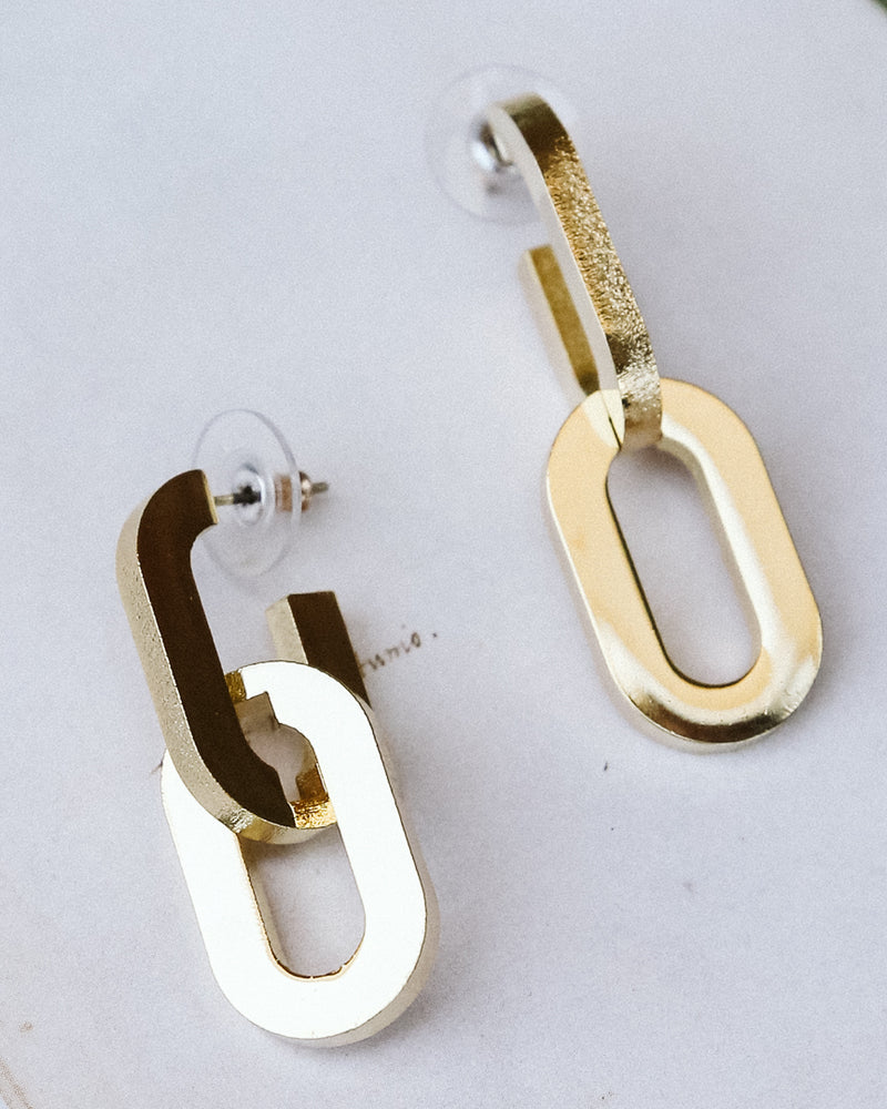 oversized chain link gold brass statement earrings