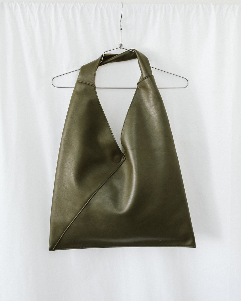 olive green reversible oversized faux leather tote bag