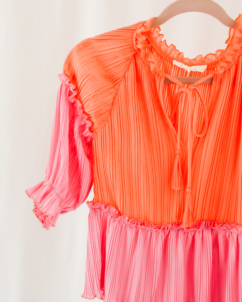 coral and hot pink color block pleated blouse