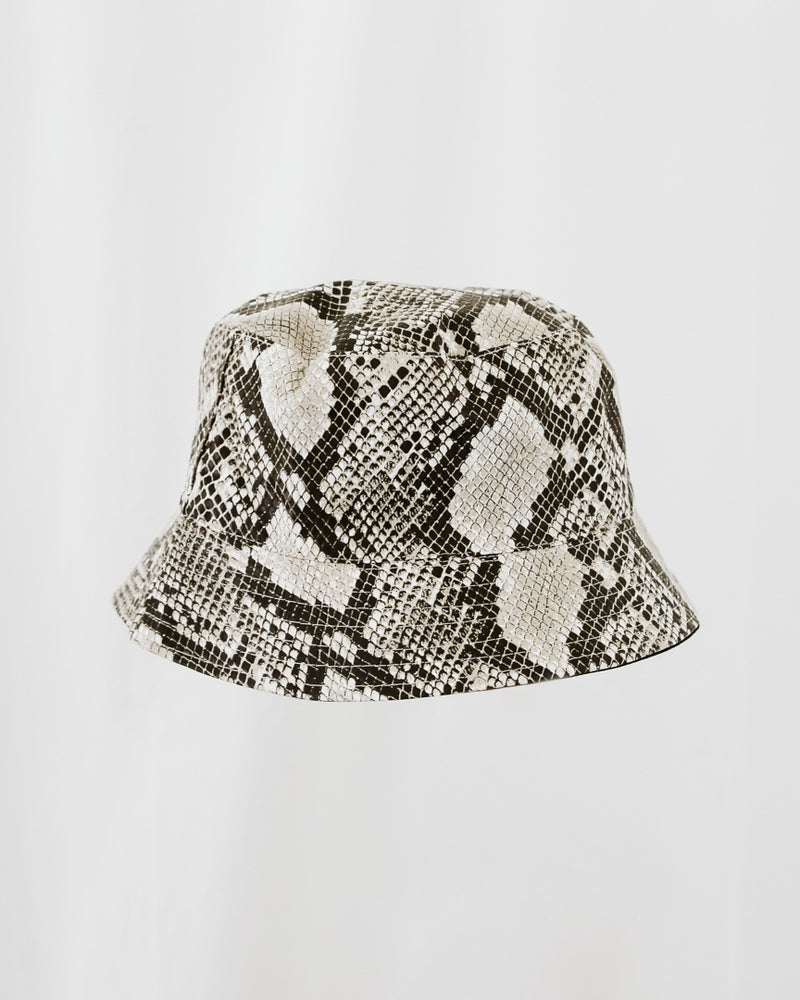 snakeskin pleather ivory and black bucket hat