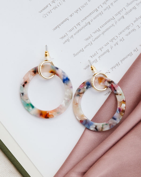 acrylic multi-color tortoise shell gold hoop earrings