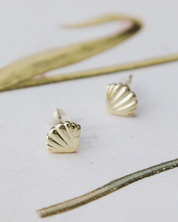 sterling silver gold tone seashell earrings