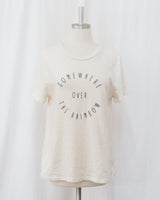 somewhere over the rainbow ivory graphic embroidered tee