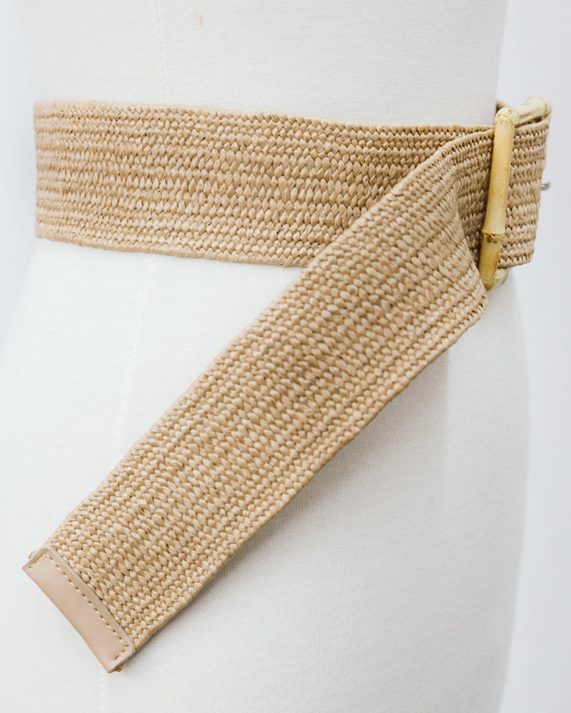 wide woven belt with square bamboo buckle