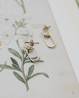 dainty brass chain link earrings