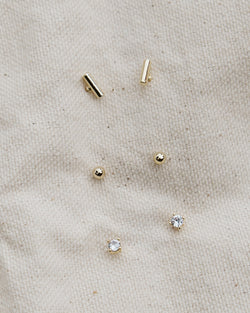 mini bar, sphere, and cubic zirconia brass earring set