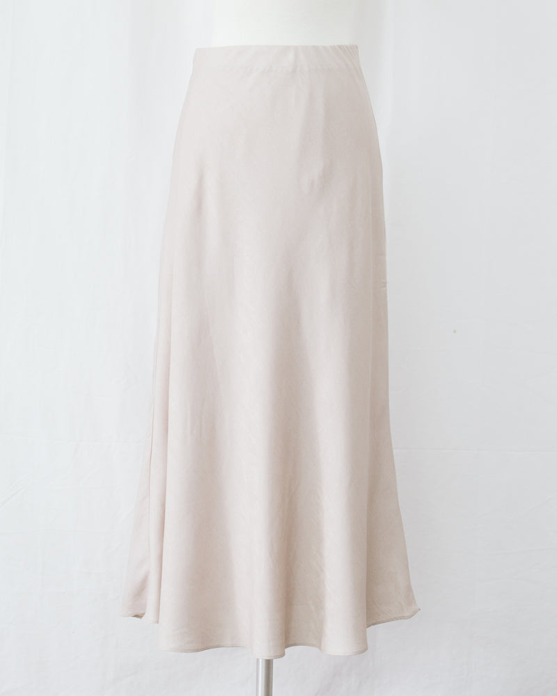 high waist satin ivory midi skirt