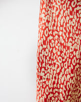 red and ivory satin midi skirt with leopard print