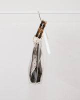 clear PVC bag with bamboo top handle and black woven insert