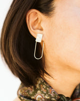 hammered gold tone earrings with square stud and hoop post