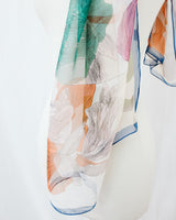 sheer orange green and white floral scarf