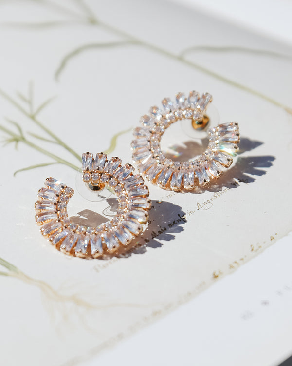 vintage cubic zirconia rhinestone circle statement earrings